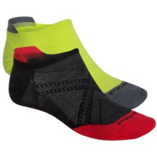 SmartWool PhD Run Ultralight Micro Socks - 2-Pack, Merino Wool, Below the Ankle (For Men and Women) in Black/Smartwool Green - Closeouts
