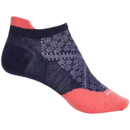 SmartWool PhD Run Ultralight Micro Socks - Merino Wool, Ankle (For Women) in Ink/Bright Coral - Closeouts
