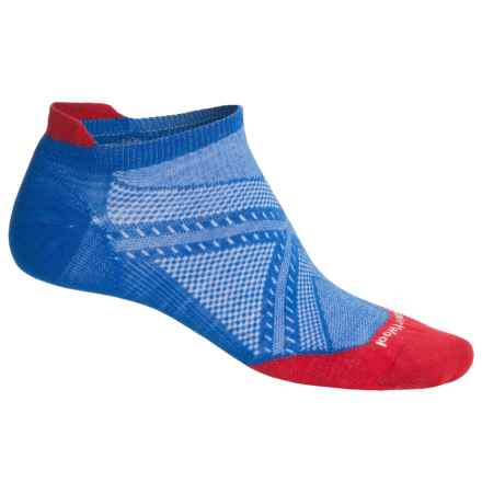 SmartWool PhD Run Ultralight Micro Socks - Merino Wool, Below the Ankle (For Men) in Bright Blue/Bright Red - 2nds