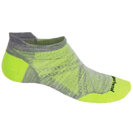 SmartWool PhD Run Ultralight Micro Socks - Merino Wool, Below the Ankle (For Men) in Light Gray/Smartwool Green - 2nds