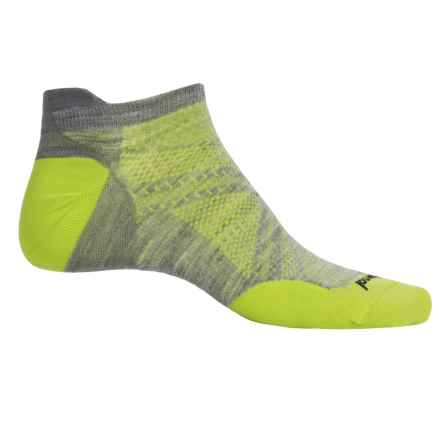 SmartWool PhD Run Ultralight Micro Socks - Merino Wool, Below the Ankle (For Men) in Light Grey/Smartwool Green - Closeouts