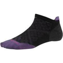 SmartWool PhD Run Ultralight Micro Socks - Merino Wool, Below-the-Ankle (For Women) in Black/Desert Purple - 2nds