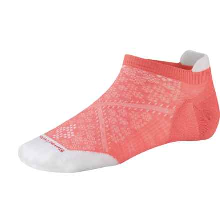 SmartWool PhD Run Ultralight Micro Socks - Merino Wool, Below-the-Ankle (For Women) in Bright Coral - 2nds