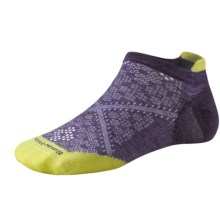 SmartWool PhD Run Ultralight Micro Socks - Merino Wool, Below-the-Ankle (For Women) in Desert Purple/Citron - 2nds