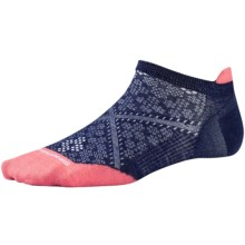 SmartWool PhD Run Ultralight Micro Socks - Merino Wool, Below-the-Ankle (For Women) in Ink/Bright Coral - 2nds