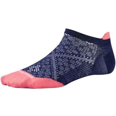 SmartWool PhD Run Ultralight Micro Socks - Merino Wool, Below-the-Ankle (For Women) in Ink/Bright Coral - 2nds