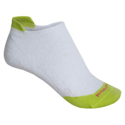 SmartWool PhD Run Ultralight Micro Socks - Merino Wool, Below-the-Ankle (For Women) in White/Smartwool Green - 2nds