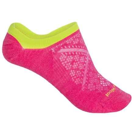 SmartWool PhD Run Ultralight No-Show Socks - Merino Wool, Below the Ankle (For Women) in Bright Pink - Closeouts