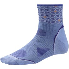 SmartWool PhD Run Ultralight Pattern Mini Socks - Merino Wool, 3/4 Crew (For Women) in Polar Purple - 2nds