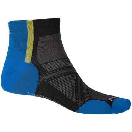 SmartWool PhD Run Ultralight Pattern Socks - Merino Wool, Ankle (For Men and Women) in Black - 2nds