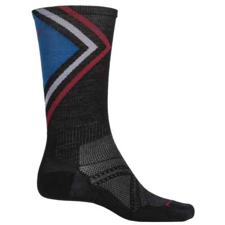 SmartWool PhD Run Ultralight Pattern Socks - Merino Wool, Crew (For Men) in Black - Closeouts