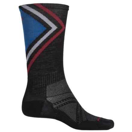 SmartWool PhD Run Ultralight Pattern Socks - Merino Wool, Crew (For Men) in Black - Closeouts