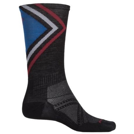 SmartWool PhD Run Ultralight Pattern Socks - Merino Wool, Crew (For Men) in Black