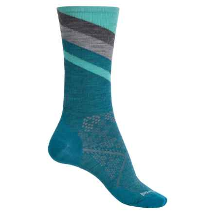 SmartWool PhD Run Ultralight Pattern Socks - Merino Wool, Crew (For Women) in Glacial Blue - Closeouts