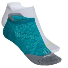 SmartWool PhD Run Ultralight Socks - 2-Pack, Merino Wool, Below the Ankle (For Women) in White/Capri - Closeouts