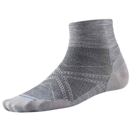 SmartWool PhD Run Ultralight Socks - Merino Wool, Quarter Crew (For Men and Women) in Light Gray - Closeouts