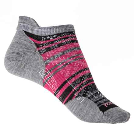 SmartWool PhD Run Ultralight Stripe Micro Socks - Merino Wool, Below the Ankle (For Women) in Light Gray - 2nds