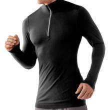 SmartWool PhD Run Zip Shirt - Long Sleeve (For Men) in Black - Closeouts