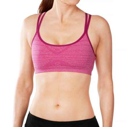 SmartWool PhD Seamless Double Strappy Sports Bra - Merino Wool, Medium Impact (For Women) in Berry Heather - Closeouts