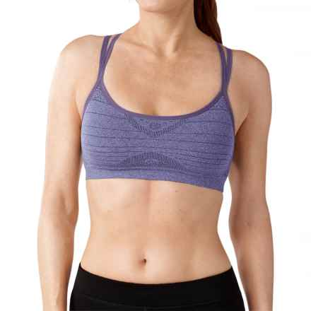 SmartWool PhD Seamless Double Strappy Sports Bra - Merino Wool, Medium Impact (For Women) in Desert Purple Heather - Closeouts