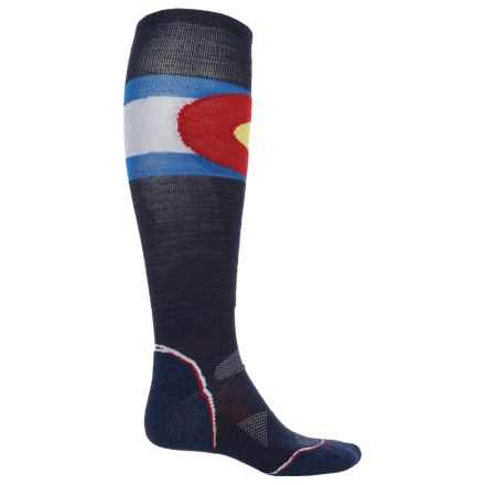 SmartWool PhD Ski Colorado Flag Socks - Merino Wool, Over the Calf (For Men and Women) in Navy - Closeouts
