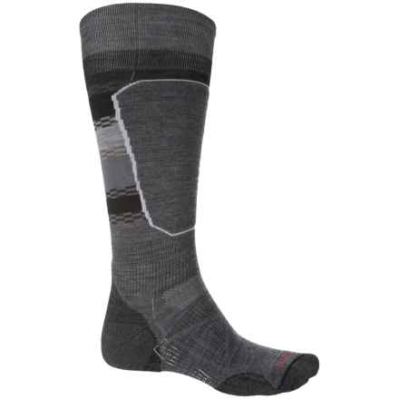 SmartWool PhD Ski Light Elite Pattern Socks - Merino Wool, Over the Calf (For Men and Women) in Medium Gray - 2nds