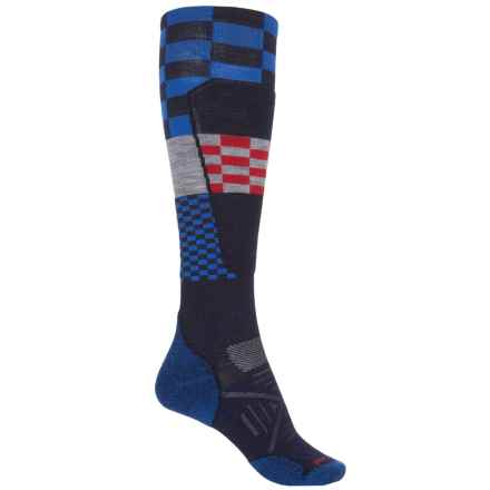 SmartWool PhD Ski Light Elite Pattern Socks - Merino Wool, Over the Calf (For Men and Women) in Navy - Closeouts