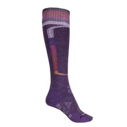 SmartWool PhD Ski Light Elite Pattern Socks - Merino Wool, Over the Calf (For Women) in Mountain Purple - 2nds