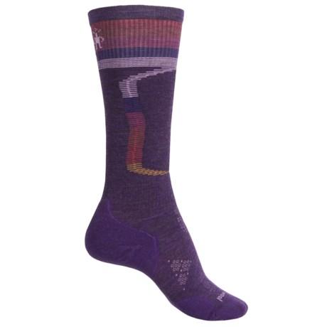 SmartWool PhD Ski Light Elite Pattern Socks - Merino Wool, Over the Calf (For Women) in Mountain Purple