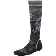 SmartWool PhD Ski Light Pattern Socks - Merino Wool, Lightweight, Over-the-Calf (For Women) in Charcoal - 2nds