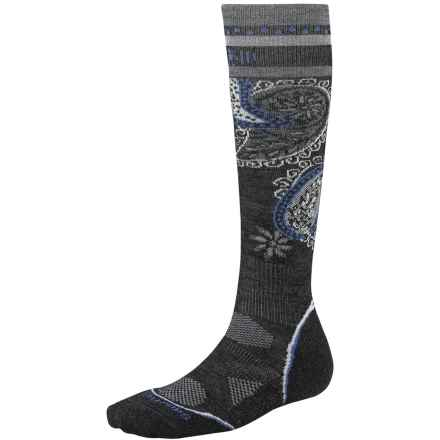 SmartWool PhD Ski Light Pattern Socks - Merino Wool, Over the Calf (For Women) in Charcoal - 2nds