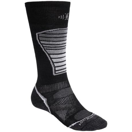 SmartWool PhD Ski Light Socks - Merino Wool (For Men and Women) in Black/Grey