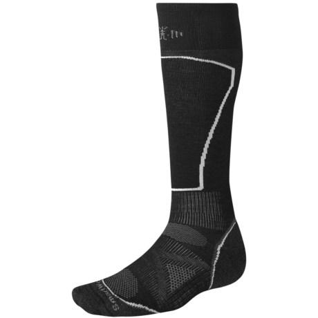 SmartWool PhD Ski Light Socks - Merino Wool, Over the Calf (For Men and Women) in Black