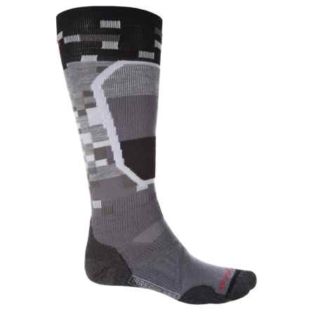 SmartWool PhD Ski Medium Pattern Socks - Merino Wool, Over the Calf (For Men and Women) in Graphite - 2nds