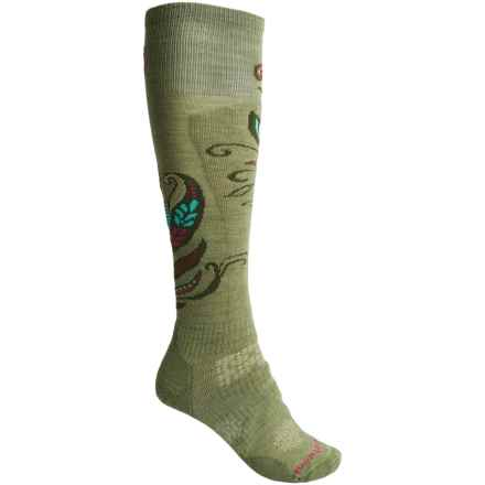 SmartWool PhD Ski Medium Pattern Socks - Merino Wool, Over the Calf (For Women) in Light Loden - 2nds