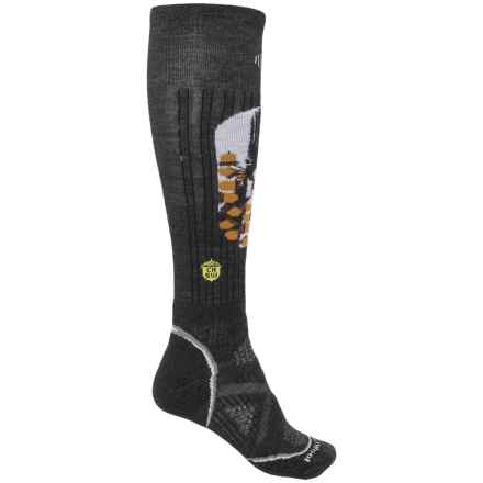 SmartWool PhD Ski Midweight Charley Harper Socks - Merino Wool, Over the Calf (For Women) in Charcoal Heather - Closeouts