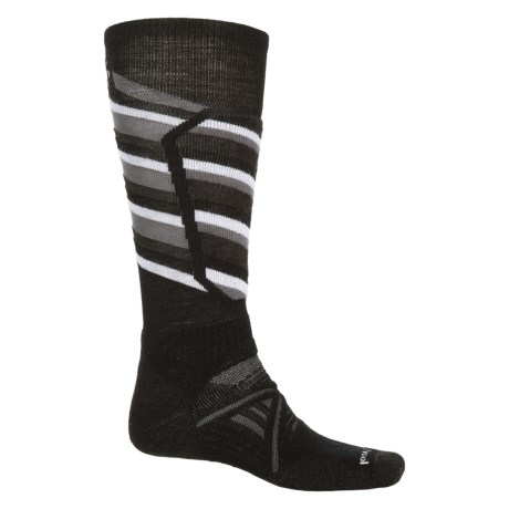 SmartWool PhD Ski Midweight Pattern Socks - Merino Wool, Over The Calf (For Men and Women) in Black