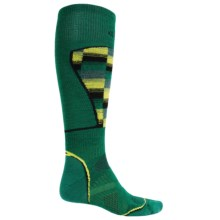 SmartWool PhD Ski Pattern Socks - Merino Wool, Midweight, Over-the-Calf (For Men and Women) in Alpine Green - 2nds