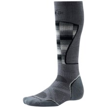 SmartWool PhD Ski Pattern Socks - Merino Wool, Midweight, Over-the-Calf (For Men and Women) in Graphite/White - 2nds