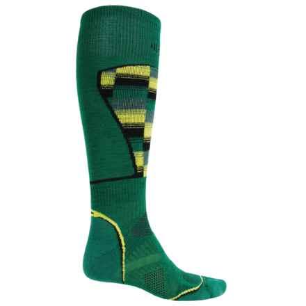 SmartWool PhD Ski Pattern Socks - Merino Wool, Over the Calf (For Men and Women) in Alpine Green - 2nds