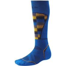SmartWool PhD Ski Pattern Socks - Merino Wool, Over the Calf (For Men and Women) in Bright Blue - 2nds