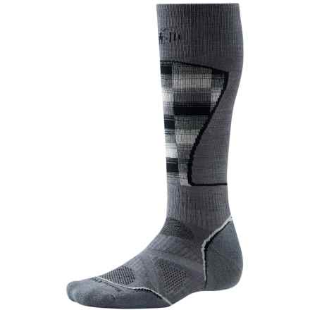 SmartWool PhD Ski Pattern Socks - Merino Wool, Over the Calf (For Men and Women) in Graphite/White - 2nds