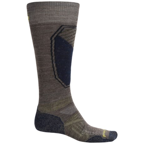 SmartWool PhD Ski Pattern Socks - Merino Wool, Over the Calf (For Men and Women) in Taupe