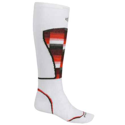 SmartWool PhD Ski Pattern Socks - Merino Wool, Over the Calf (For Men and Women) in White - 2nds