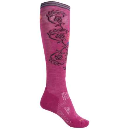 SmartWool PhD Ski Pattern Socks - Merino Wool, Over the Calf (For Women) in Berry - 2nds