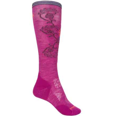 SmartWool PhD Ski Pattern Socks - Merino Wool, Over the Calf (For Women) in Berry - Closeouts