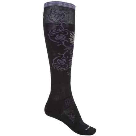 SmartWool PhD Ski Pattern Socks - Merino Wool, Over the Calf (For Women) in Black - 2nds