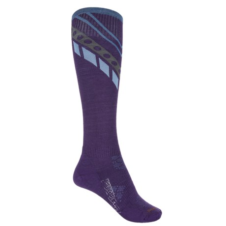 SmartWool PhD Ski Pattern Socks - Over the Calf (For Women) in Mountain Purple