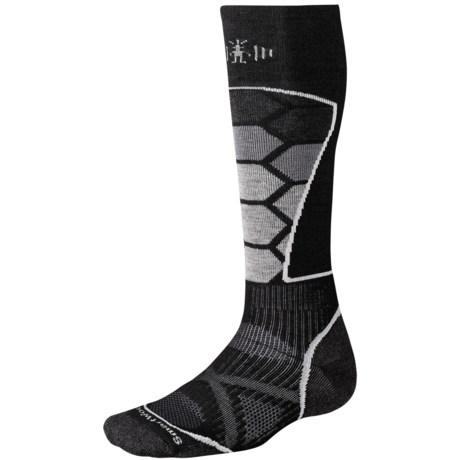 SmartWool PhD Ski Socks - Merino Wool (For Men and Women) in Black/Grey