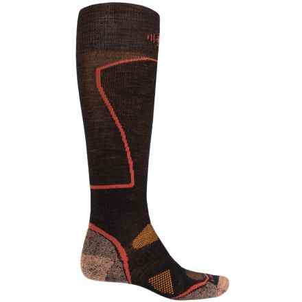 SmartWool PhD Ski Socks - Merino Wool, Over the Calf (For Men and Women) in Black/Curry - 2nds